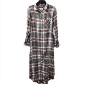 Treasure & Bond Flannel Shirt Dress Midi Maxi XS